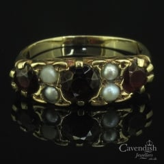 Vintage Gold Garnet and Seed Pearl Ring