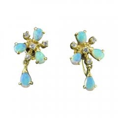Vintage Gold Opal and Diamond Screw Back Earrings