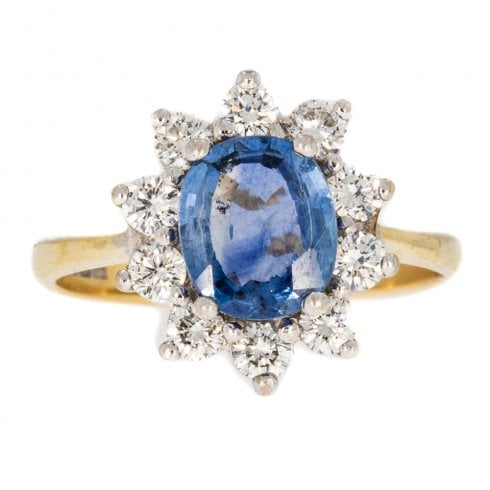 Vintage Gold Sapphire & Diamond Cluster Ring