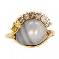 Vintage Keshi Pearl and Diamond ring