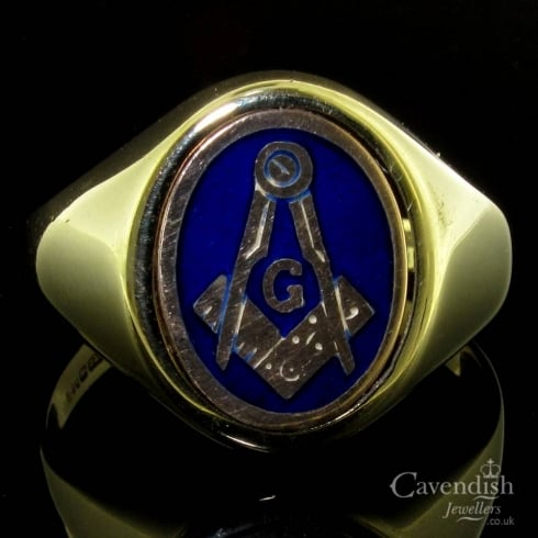 Vintage Masonic Blue Enamel Spinner Ring