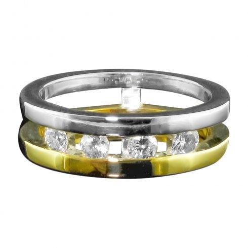 Vintage Modern Split Band Diamond Ring