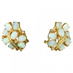 Vintage Natural Opal And Diamond Cluster Earrings