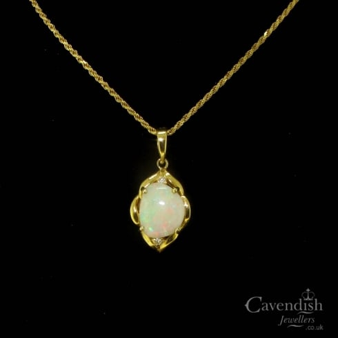 Vintage Natural Opal and Diamond Pendant