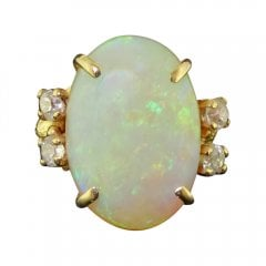 Vintage Natural Opal And Old Cut Diamond Dress Ring