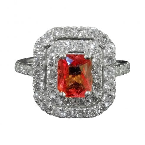 Vintage Padparadscha Sapphire And Diamond Cluster Ring