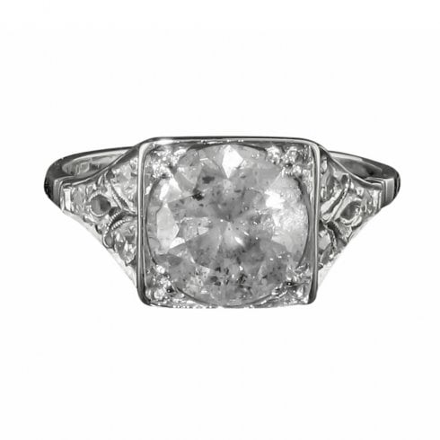Vintage Platinum Diamond Solitaire Ring