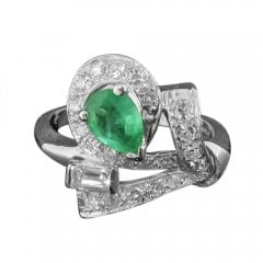 Vintage Platinum Emerald And Diamond Cluster Ring