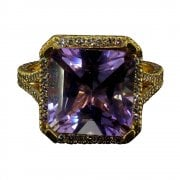 Vintage Rose Gold Amethyst and Diamond Ring