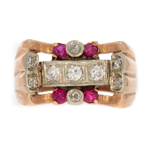 Vintage Rose Gold Diamond and Synthetic Ruby Cocktail Ring