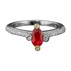 Vintage Ruby And Diamond Solitaire Ring