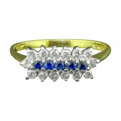 Vintage Sapphire And Diamond Boat Style Ring