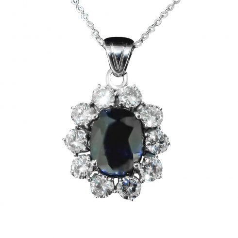 Vintage Sapphire And Diamond Cluster Pendant