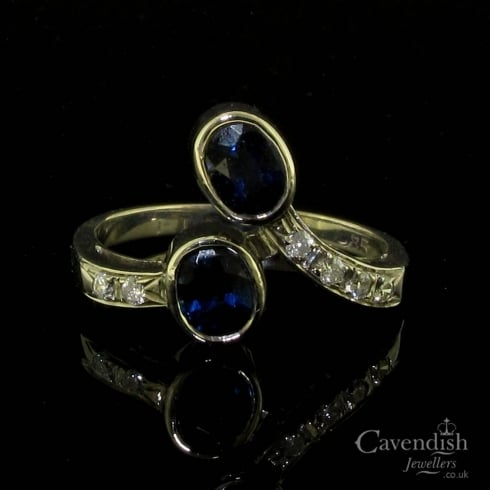 Vintage Sapphire & Diamond Two Stone Twist Ring