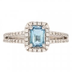 Vintage Secondhand Aquamarine and Diamond Cluster Ring