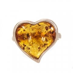 Vintage Silver And Amber Heart Ring