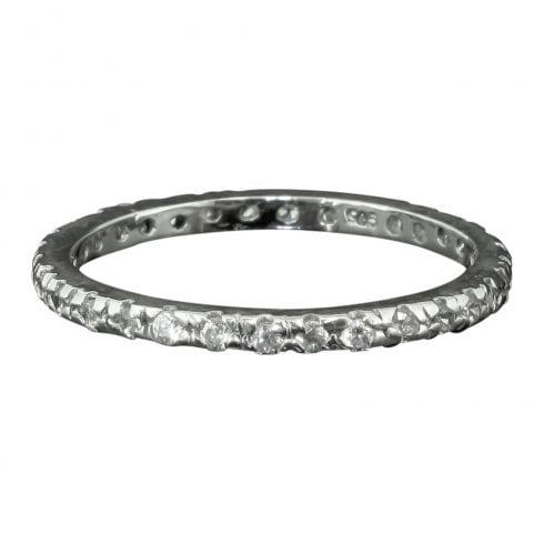 Vintage Silver and Cubic Zirconia Full Eternity Ring