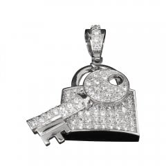 Vintage Silver and Cubic Zirconia Padlock and Key Pendant