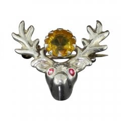 Vintage Silver And Orange Paste Stag's Head Brooch