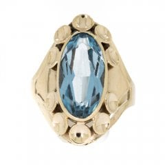Vintage Striking Gold Blue Topaz Dress Ring