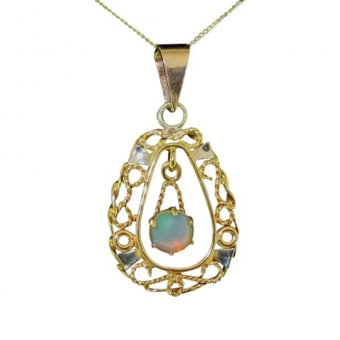 Vintage Synthetic Opal Pendant Necklace