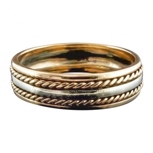 Vintage Two Tone Gents Wedding Band