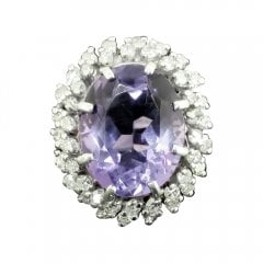 Vintage White Gold Amethyst And Diamond Cluster Ring