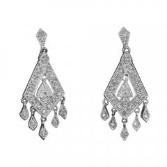 Vintage White Gold And Diamond Drop Earrings