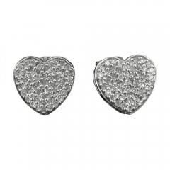 Vintage White Gold Diamond Heart Stud Earrings
