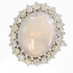 Vintage White Gold Opal And Diamond Cluster Ring
