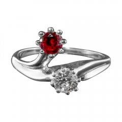 Vintage White Gold Ruby And Diamond Twist Two Stone Ring