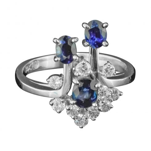 Vintage White Gold Sapphire And Diamond Cocktail Ring