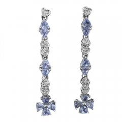 Vintage White Gold Tanzanite And Diamond Drop Earrings