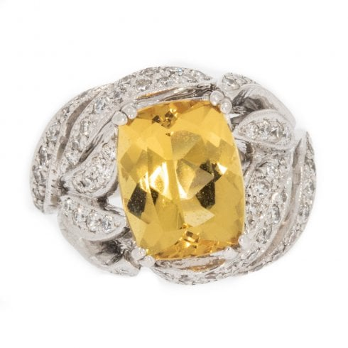 Vintage White Gold Yellow Beryl and Diamond Ring
