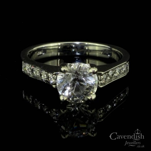 Vintage White Sapphire & Diamond Solitaire Ring