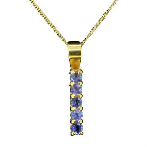 Vintage Yellow Gold And 5 Stone Tanzanite Line Pendant Necklace