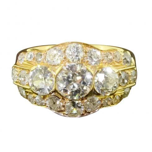Vintage Yellow Gold and Old Cut Diamond Cluster Ring