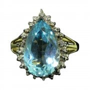 Vintage Yellow Gold Blue Topaz And Diamond Cluster Ring