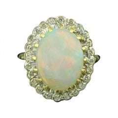 Vintage Yellow Gold Opal And Diamond Cluster Ring