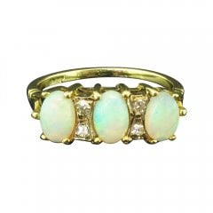 Vintage Yellow Gold Opal And Diamond Ring