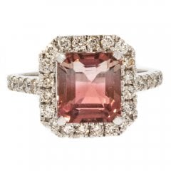 Watermelon Tourmaline and Diamond Cluster Ring