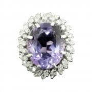 White Gold Amethyst And Diamond Cluster Ring