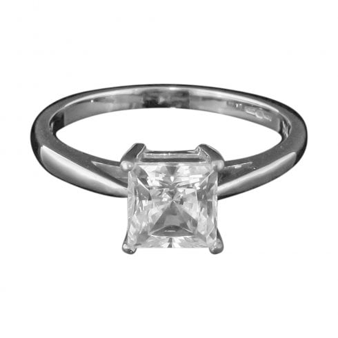 White Gold and Cubic Zirconia Solitaire Ring