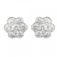 White Gold And Diamond Floral Cluster Earrings