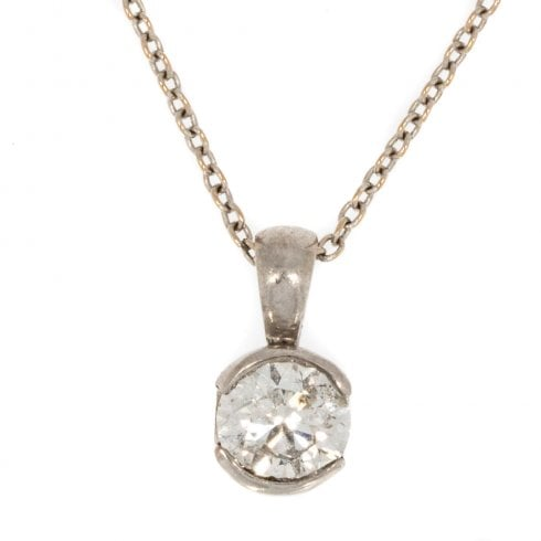 White Gold and Diamond Pendant Necklace
