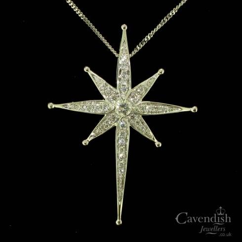 White gold and diamond set north star pendant necklace from white gold and diamond set north star pendant necklace aloadofball Images