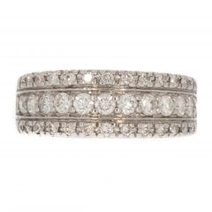 White Gold Diamond 3 Row Half Hoop Ring