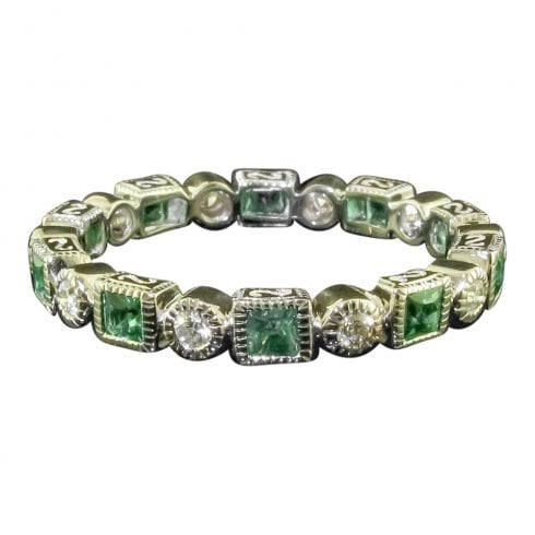 White Gold Emerald And Diamond Full Eternity Ring