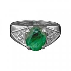 White Gold Emerald And Diamond Vintage Solitaire Ring
