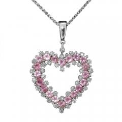 White Gold Pink Sapphire And Diamond Heart Pendant